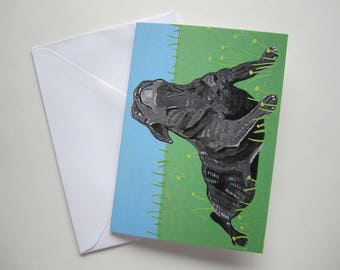 Black Pug at the Park Greeting Card, Black Pug Greeting Card, Pug at the Park Greeting Card by Amber Maki