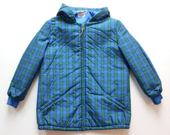 FRENCH VINTAGE 50/60's / kids / hooded anorak / winter jacket / blue and green checkered Rhovyl fabric / new old stock / size 10 years