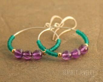 Beaded Hoop Earrings - Amethyst Earrings - Purple Green Hoop Earrings - Boho Hoop Earrings - Vintage Bead Earrings, February Birthday gift