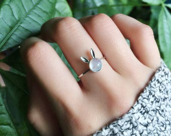 Moonstone Ring | Bunny Rabbit | Bunny Tail Ring | Delicate Ring  | Animal  | Gemstone Ring