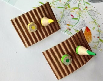Wood button earrings with pencils in various colors
