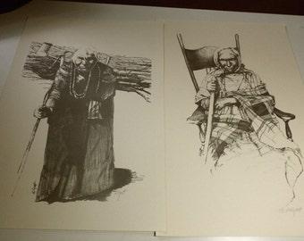 Two Native American Prints Art Pencil Signed Princess Angeline Northwest Coast