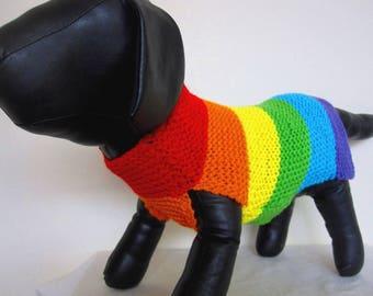 Rainbow dog sweater, chihuahua sweater, yorkie coat, Boston terrier coat,daschund coat, rainbow dog coat, rainbow dog jumper, dog clothing