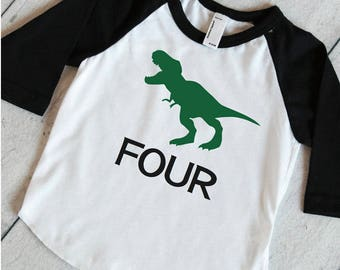 Dino Raglan Shirt T-Rex Shirt, Dino Birthday Shirt, 4th Birthday Shirt, Boys Birthday Shirt, Dinosaur 4th Birthday Party Shirt 317
