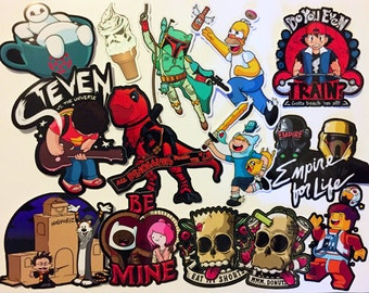 LARGE Sticker Pack of ANY 5 Stickers! - DeadPool | Star Wars | Adventure Time | Simpsons | Pokemon Sticker | Funny Sticker for kids