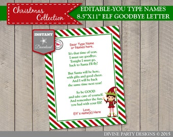 INSTANT DOWNLOAD Printable Elf Girl Goodbye Letter / You Type Names / Christmas Collection / Item #3051