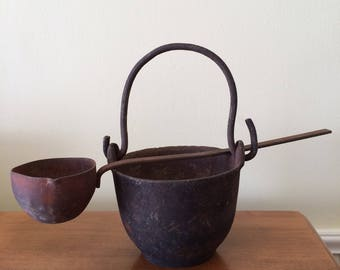 Vintage Small Cast Iron Smelting Pot with Ladle
