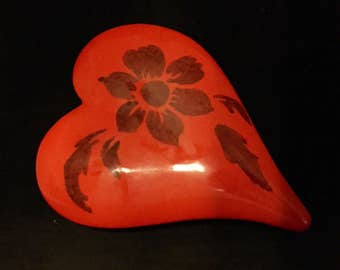 Heart Shaped Porcelain Jewelry or Trinket Box
