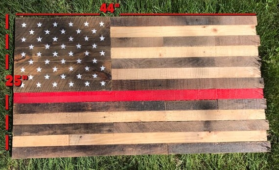 Like this item? - Reclaimed Wood Flag Pallet Wood Rustic American Flag Thin Red
