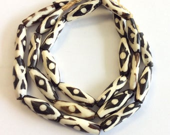 African Kenya batik bone Oval  beads