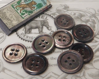 8 Vintage Smoky Mother of Pearl Buttons Iridescent