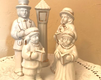 Vintage Christmas Caroler Figurines-Classic Creme with Gold Trim