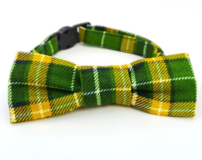 Cat Bowtie - slide on - green and yellow plaid tartan