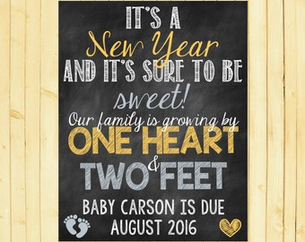 New Year Pregnancy Announcement New Year Pregnancy Reveal New Year Baby New Year Growing Family One Heart Two Feet
