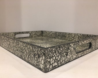 Pealized Rectangular Decorative Tray, with Texture, Black, Ivory, Cream, Silver