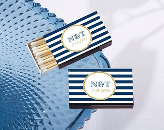 Nautical Design Personalized Wedding Matches - Set of 50 Nautical Themed Wedding Favor Ideas - Personalized Wedding Favors (28257-NW)