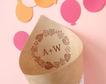 Petal Toss Rubber Stamp, Summer wedding, Japanese stationery, Monstera and plumeria, Wreath rubber stamp