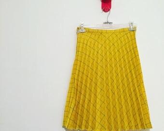 Vintage gonna skirt plissè seventies anni70 gialla yellow scacchi