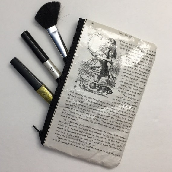 Alice in Wonderland Book Themed Pencil or Make-up Pouch - The Queen's Croquet Ground