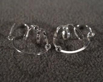 Vintage Art Deco Style Sterling Silver Scrolled Beaded Pierced Earrings Jewelry -K#46