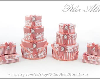 Parcel and Hat boxes for Dollhouse, Toile Jouy, peach color, romantic, shabby chic. 12th Scale. One inch scale.