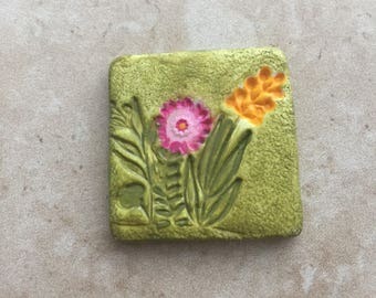 Handmade rustic green faux stoneware polymer clay square focal pendant cabochon - pink and yellow flower design
