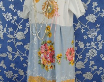 Gorgeous Sky Blues Orange Pink Vibrant Floral Recycled Tablecloth Doily Crochet Lace  Embroidered Applique Maxi Dress