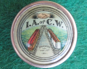 Rare Very Early 1901 I.A. of C.W. Union Collar Button - Any Info Appreciated - Free Shipping