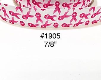 "3 or 5 yard - 7/8"" Breast Cancer Awareness on White Grosgrain Ribbon Hair bow"