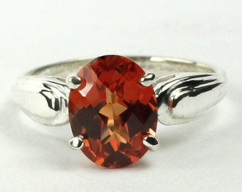 Created Padparadsha Sapphire, 925 Sterling Silver Ring, SR058
