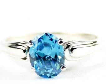 Glacier Blue CZ, 925 Sterling Silver Ring, SR058