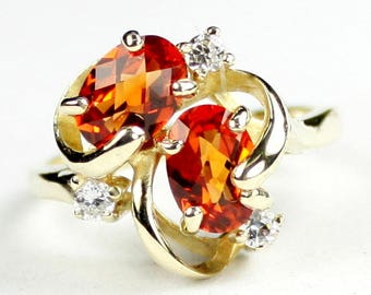 Created Padparadsha Sapphire, 14KY Gold Ring,R016