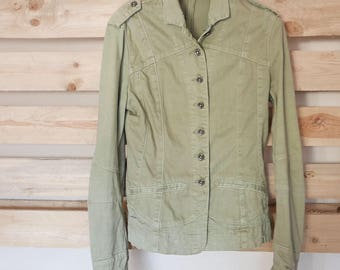 Vintage 90's jacket army green jeans brand EIGHT SIN OOAK Made in Italy