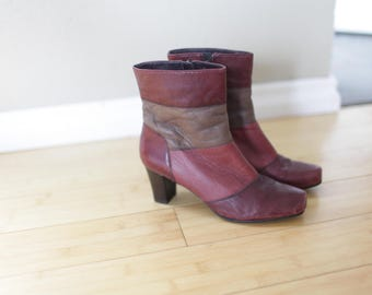 vintage maroon  rainbow leather oxford ankle boots womens 7