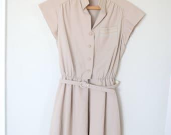 vintage tan safari rainbow stitch belted  secretary dress