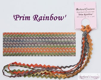 Hand dyed cotton rick-rack trim 8 mm wide - 'Prim Rainbow'