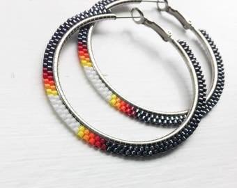 Gunmetal Gray Sunset Beaded Hoop Earrings - Gray Hoop Earrings - Gunmetal Beaded Earrings - Gray Beaded Jewelry - Gift for Her