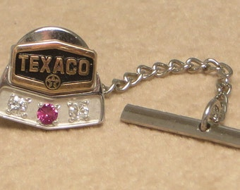 Vintage retro Texaco Oil Gas mens advertising 10k solid gold enamel diamond ruby service award tie tack pin back
