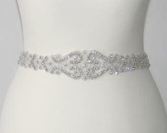 Bridal Sash Belt with Rhinestones