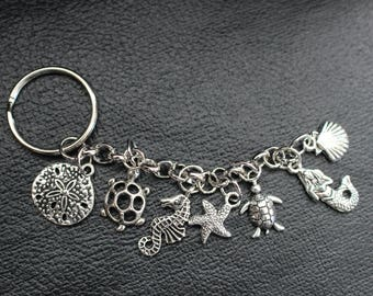Silver Keychain Sea Charms