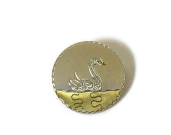 """Vintage Round Van Dell Sterling Silver and Enamel Etched Swan Brooch Pin 1.10"""", Vintage Van Dell Jewelry"""