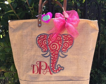 NEW!!  Natural Jute ZipperTote, Reuseable Grocery Bag, Beach Bag, Carryall, Elephant Head with Scroll Monogrammed Tote and More!