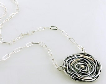 Woven Rose Necklace Handmade in Oxidized Sterling Silver with Yellow Gold Accents Medium