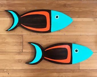 Pair of Mid Century Fish for your wall or tiki bar