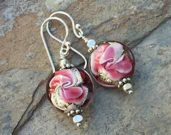 Rose Pink Earrings, Rose Earrings, Pink Lampwork Glass Earrings, 1.5 inches long.