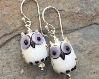 Owl Earrings, White Owls, Glass Lampwork Earrings, 1.5 inches long