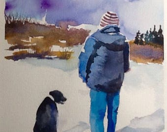 "Original Watercolor Painting, ""Waiting for Rain"", free shipping North America and UK"