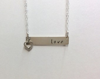 Sterling silver, bar necklace, personalized, custom