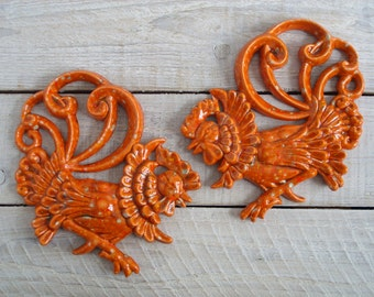 Vintage Orange Ceramic Roosters ~ 70's Kitchen Wall Hanging ~ Retro Chicken Plaque Set ~ Rooster Pottery Pair (B5)