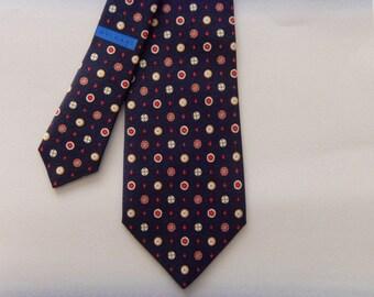 Authentic BVLGARI Silk Tie by Davide Pizzigoni, Woven Silk BULGARI Necktie, Navy Blue & Geometric Pattern, Made In Italy